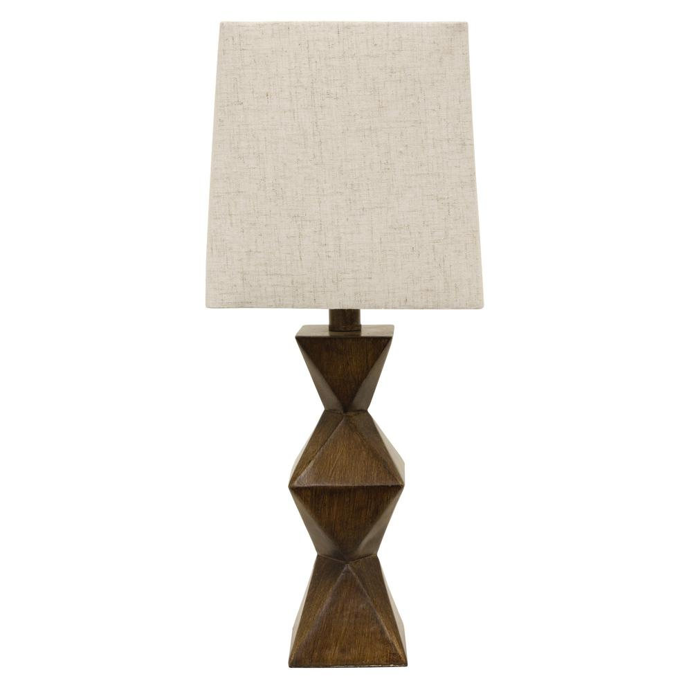 decor therapy knox stacked brown table lamp with linen lamps accent shade uttermost tables chinese style shades wood console cabinet swing sets kmart coffee west elm urban