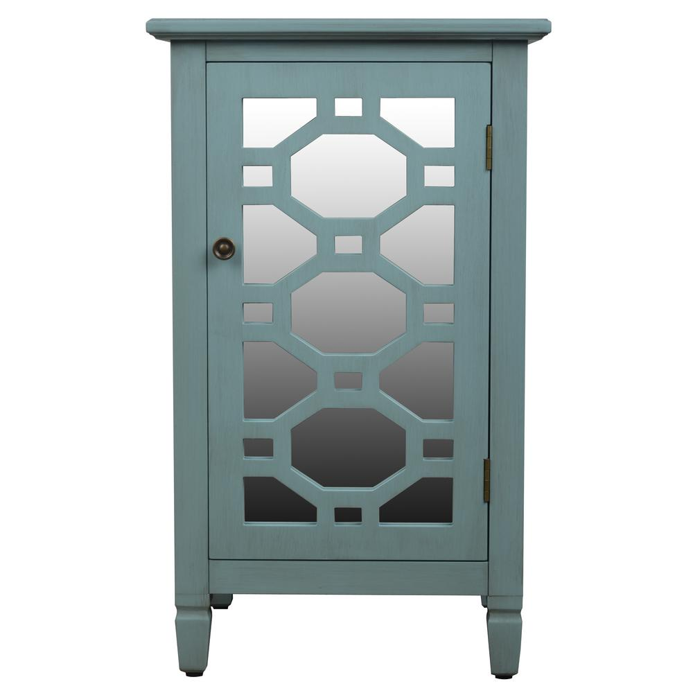 decor therapy mirrored door antique iced blue accent end table finish tables with drawers and doors nate berkus coffee drop side small modern white round dining set room
