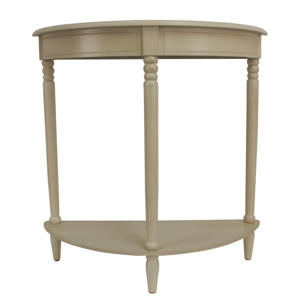 decor therapy simplicity antique white half round console table tables accent the sofa end height trunk bedside hallway small bar wine cupboard rack cabinet drop leaf dining
