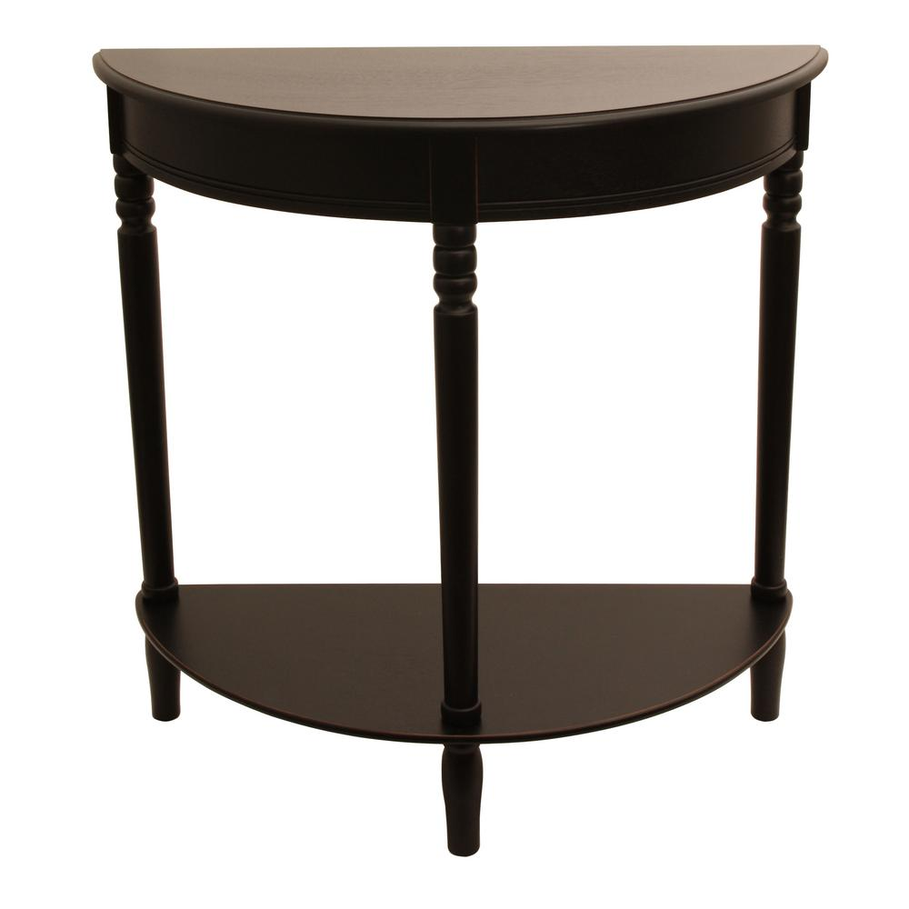 decor therapy simplicity eased edge black half round console table tables accent the furniture market astoria super thin rose tiffany lamp small occasional simon lee rustic entry