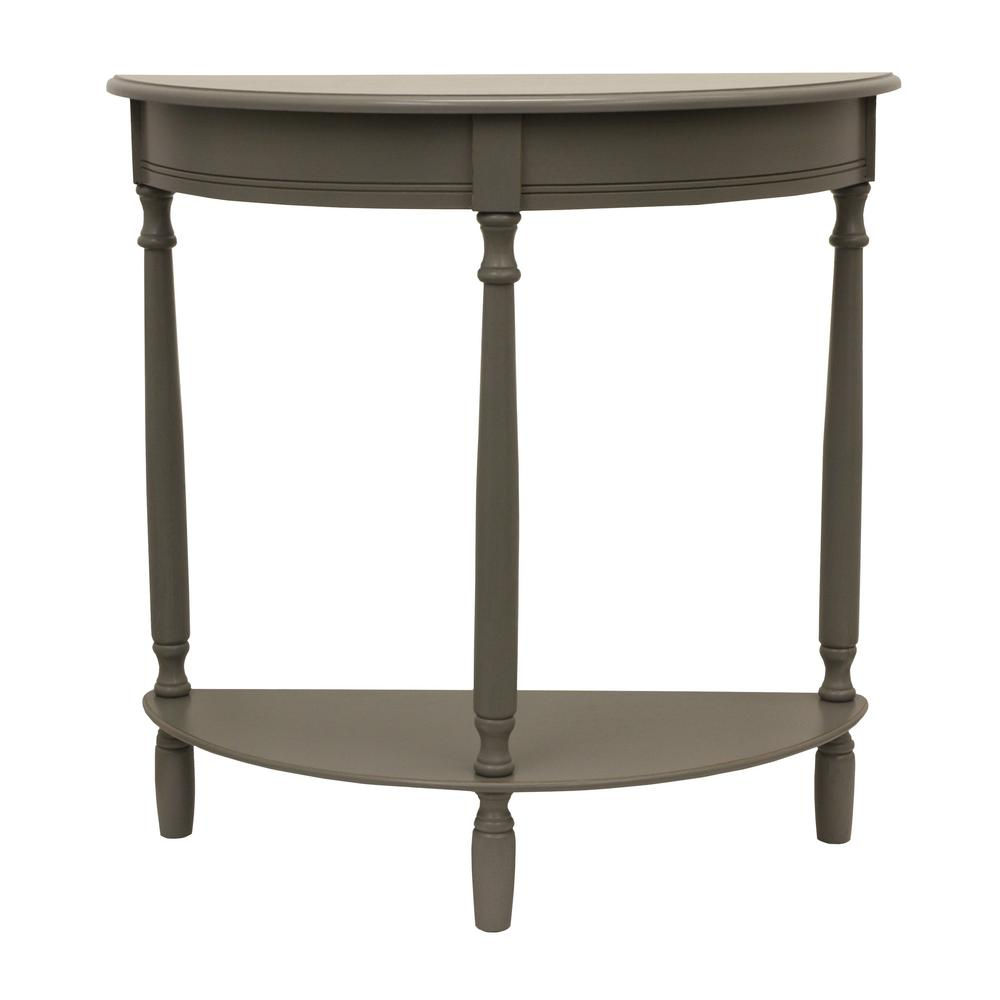 decor therapy simplicity eased edge gray half round console table grey tables wood accent the gallerie coupon mini coffee set seaside kmart desk perspex occasional kitchen items