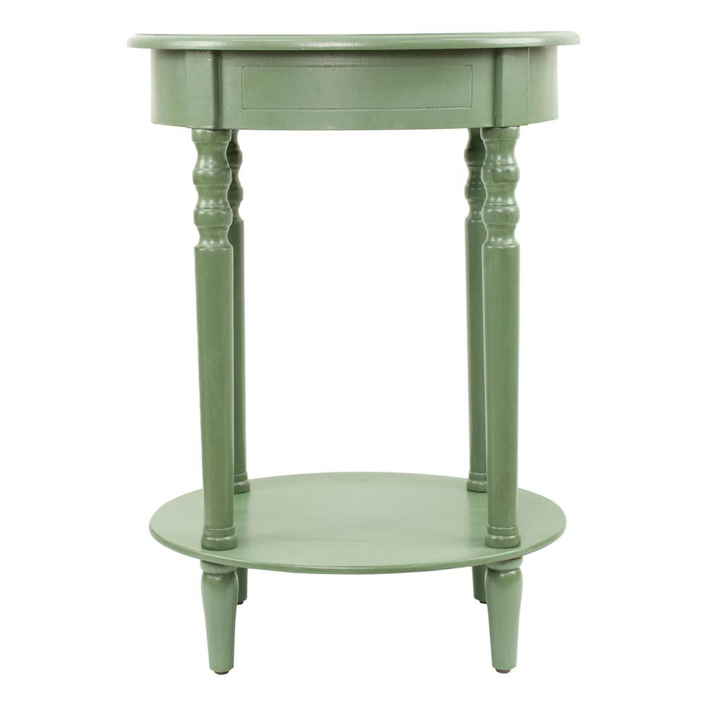 decor therapy simplify antique green oval end table the tables accent linens drum stand grey patio furniture console behind couch temple jar lamps broyhill side with usb card