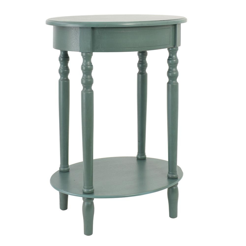 decor therapy simplify antique green oval end table the teal tables accent linens this review from card cloth couch arm small for corner console behind uma wooden outdoor patio