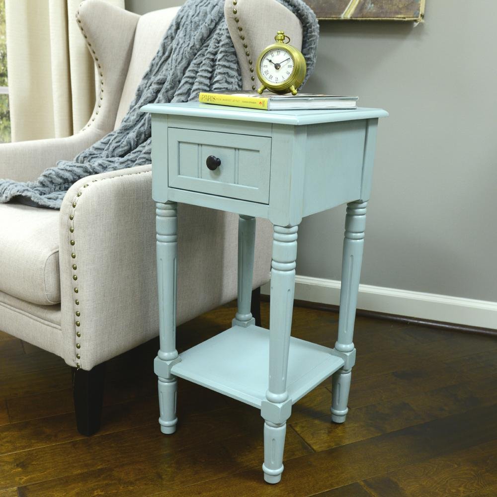 decor therapy simplify antique iced blue drawer end table tables accent the espresso wood console furniture inch tablecloth pottery barn bedside pier copper hairpin legs childrens