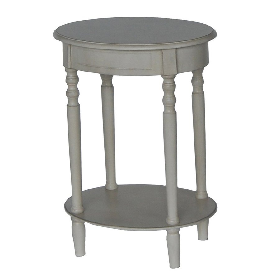 decor therapy simplify antique white composite country end table oval accent rattan pedestal bedside brushed silver side modern lounge counter height console squares linens west