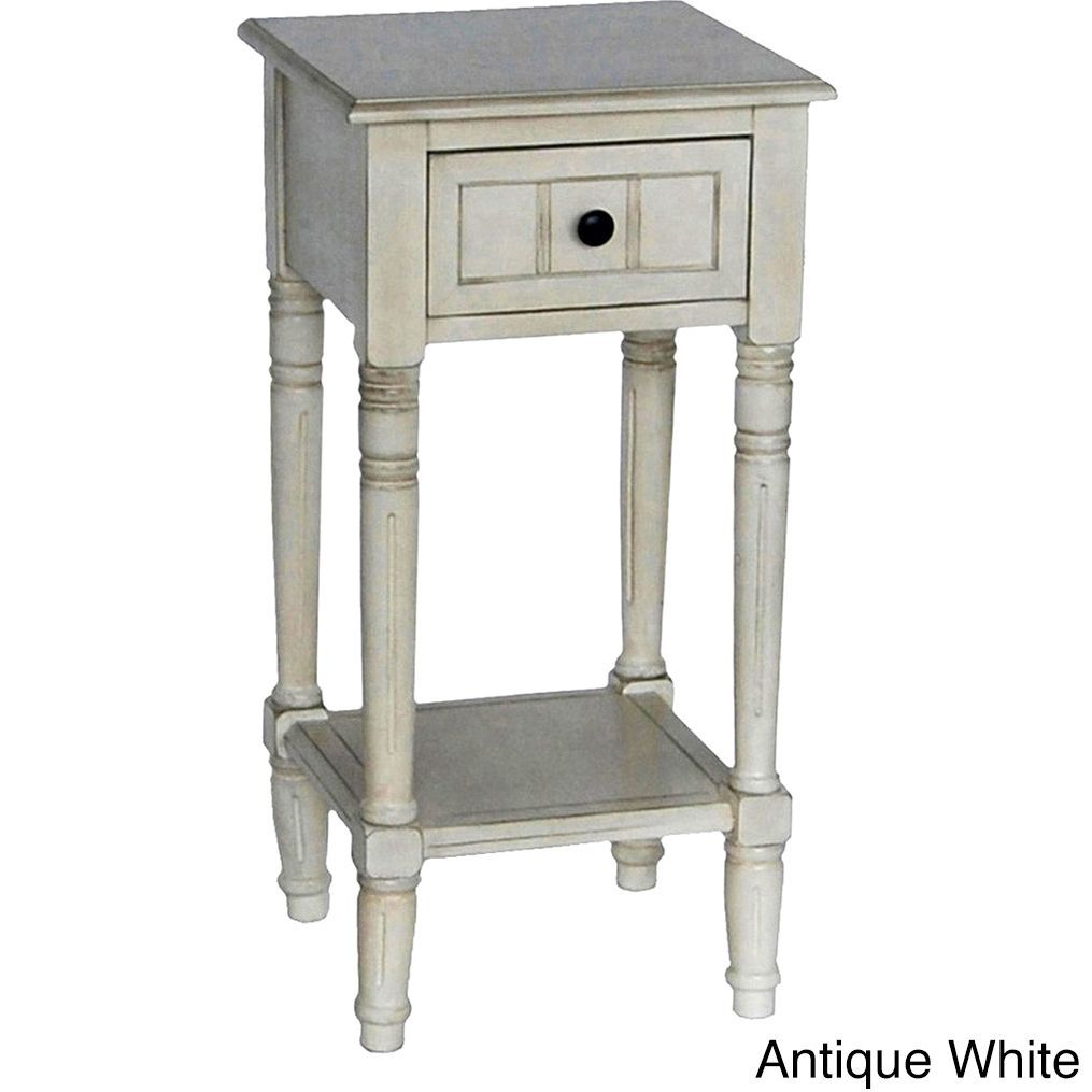 decor therapy simplify one drawer square accent table antique white with drawers hooper console tall round yellow unique cabinets outdoor grill island marble coffee toronto green