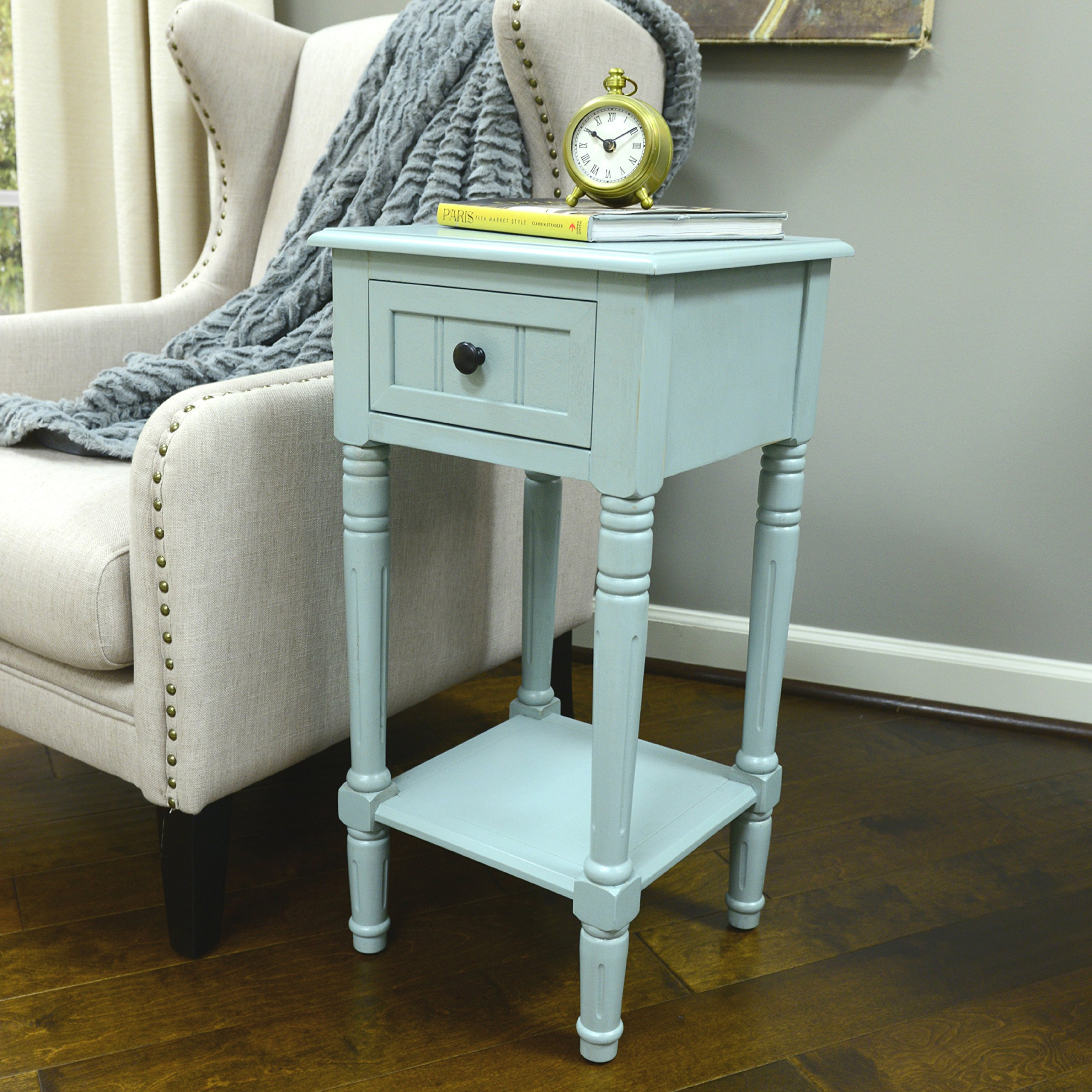 decor therapy simplify one drawer square accent table pgrwtfl pedestal antique iced blue inch side alexa echo dot white round bedside foot long console wood floor door threshold