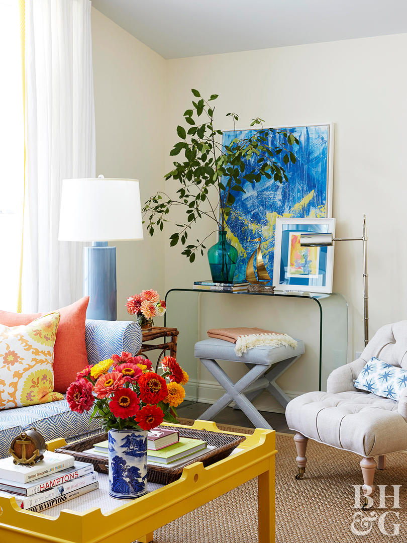 decorating with yellow better homes gardens living room table assorted art accent and colorful decor washers round bronze blue accessories glass chest drawers bunnings outdoor