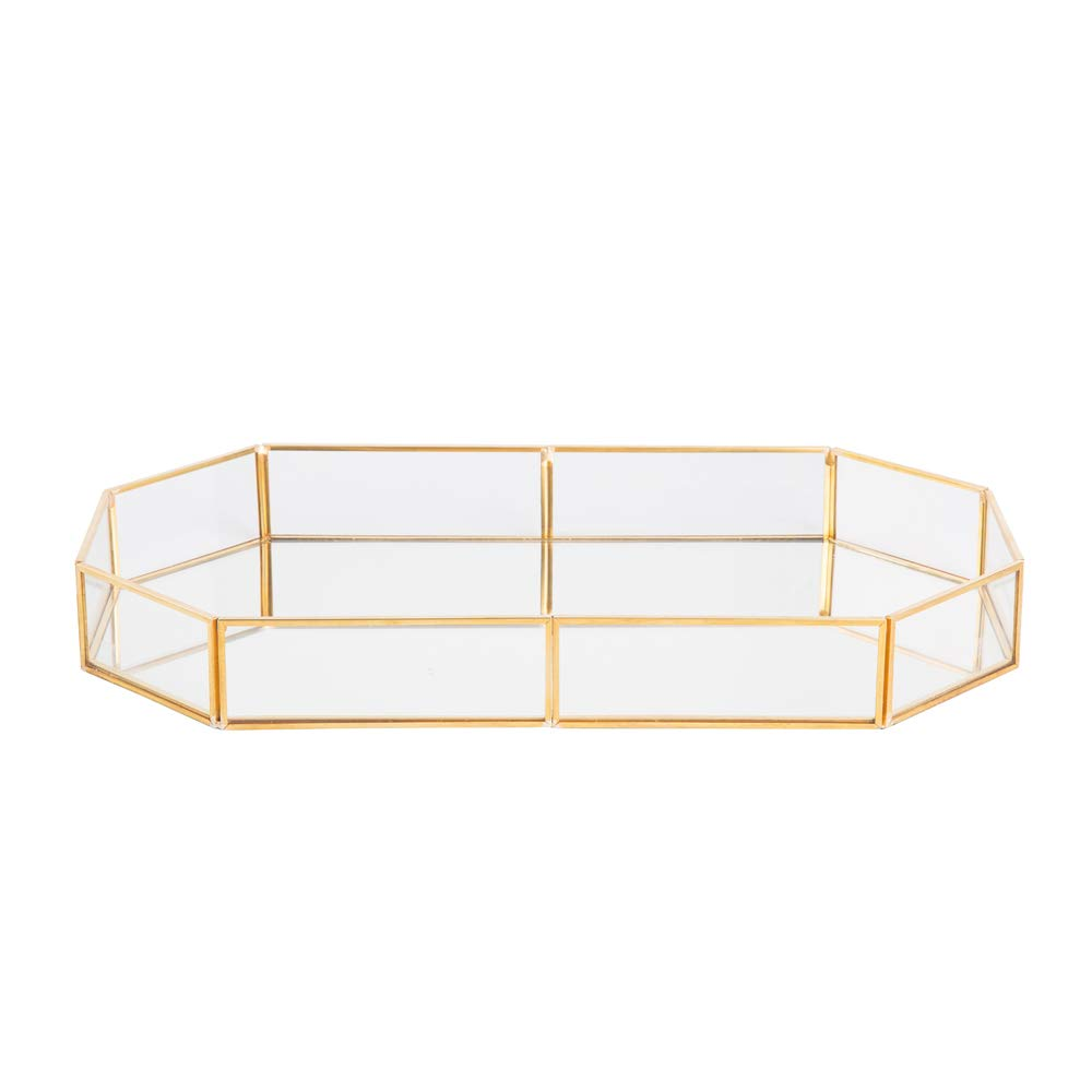 decorative tray vintage glass jewelry with vanity accent table mirrored bottom organizer for gold leaf finish home kitchen ballard outdoor pillows uttermost samuelle coffee and