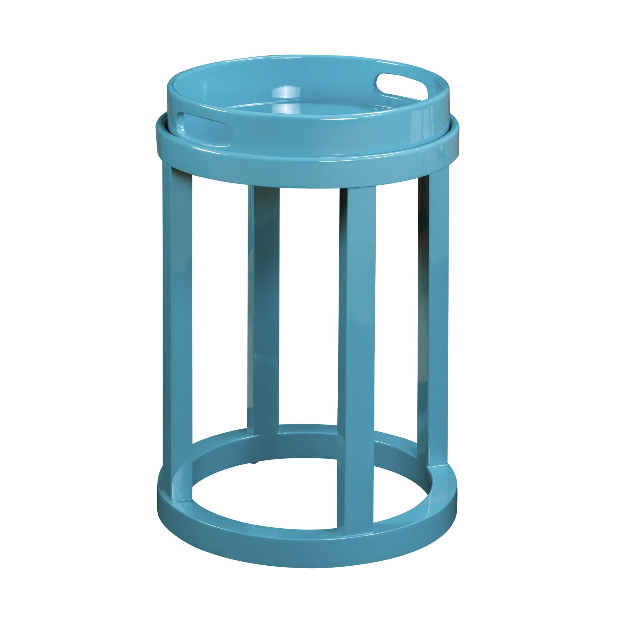 delacora high gloss blue blair wide acrylic accent table inch square vinyl tablecloth chrome door threshold plastic outdoor folding side bridal shower registry pottery barn