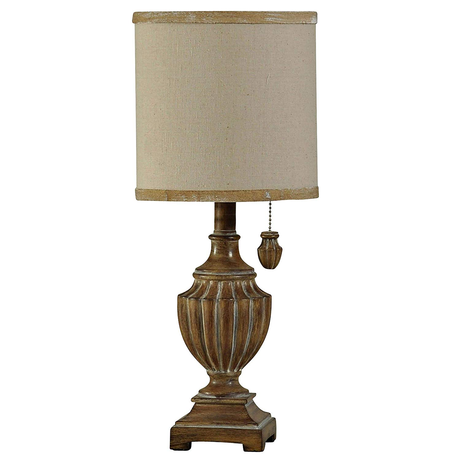 delacora kerala tall accent table lamp with hardback lamps fabric shade dining decoration accessories battery operated lighting yellow home decor accents wood pedestal stand pork