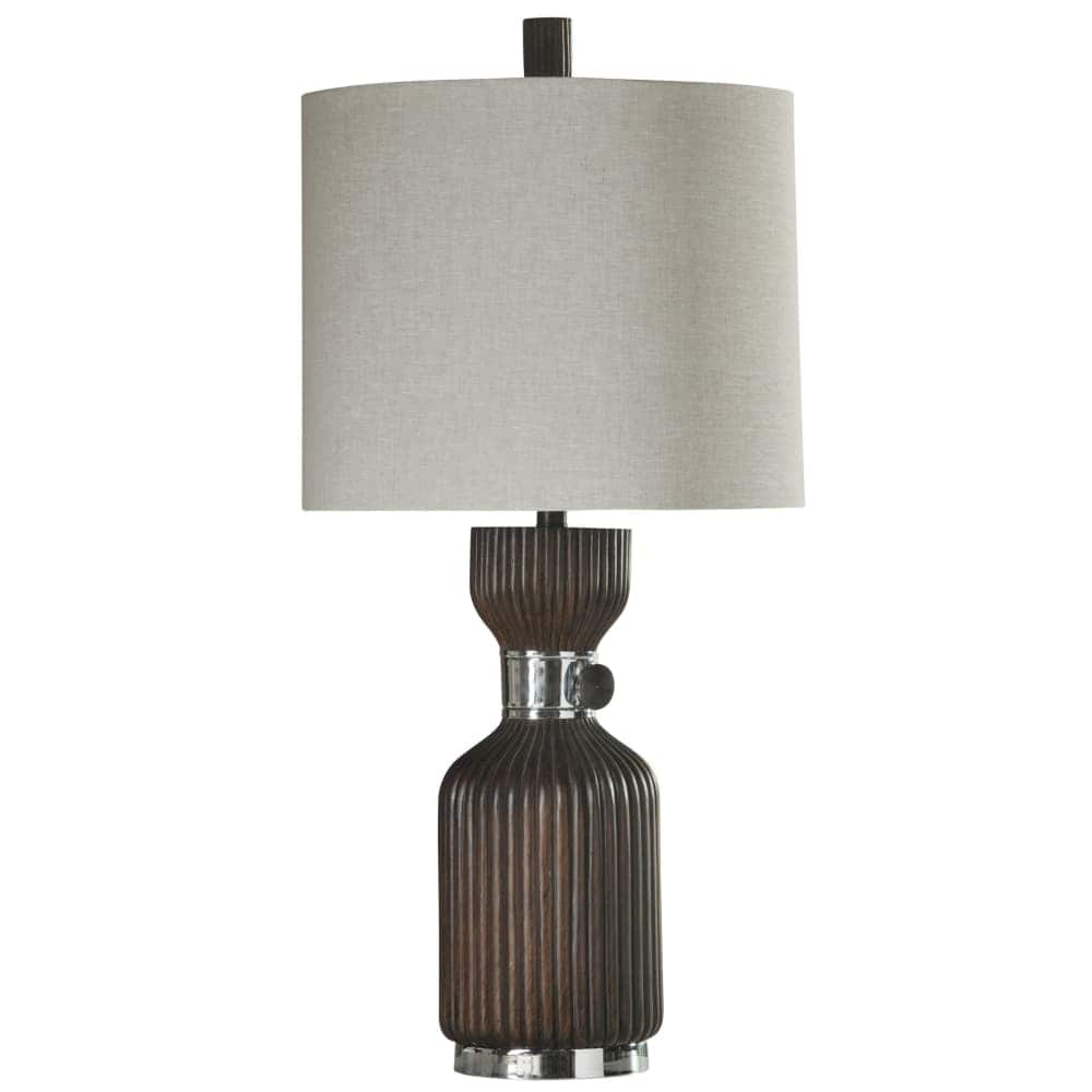 delacora walnut ridge tall accent table lamp with hardback fabric shade deep brown free shipping today elm chair black coffee and end sets pier imports furniture drum bar top