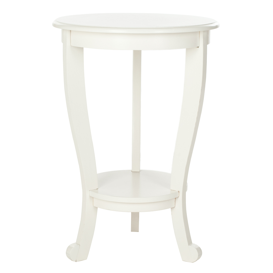 delightful white round end table wood construction three tapered lovely solid wod cabriole legs one bottom shelf safavieh janika accent off full size tables ultra modern bathroom