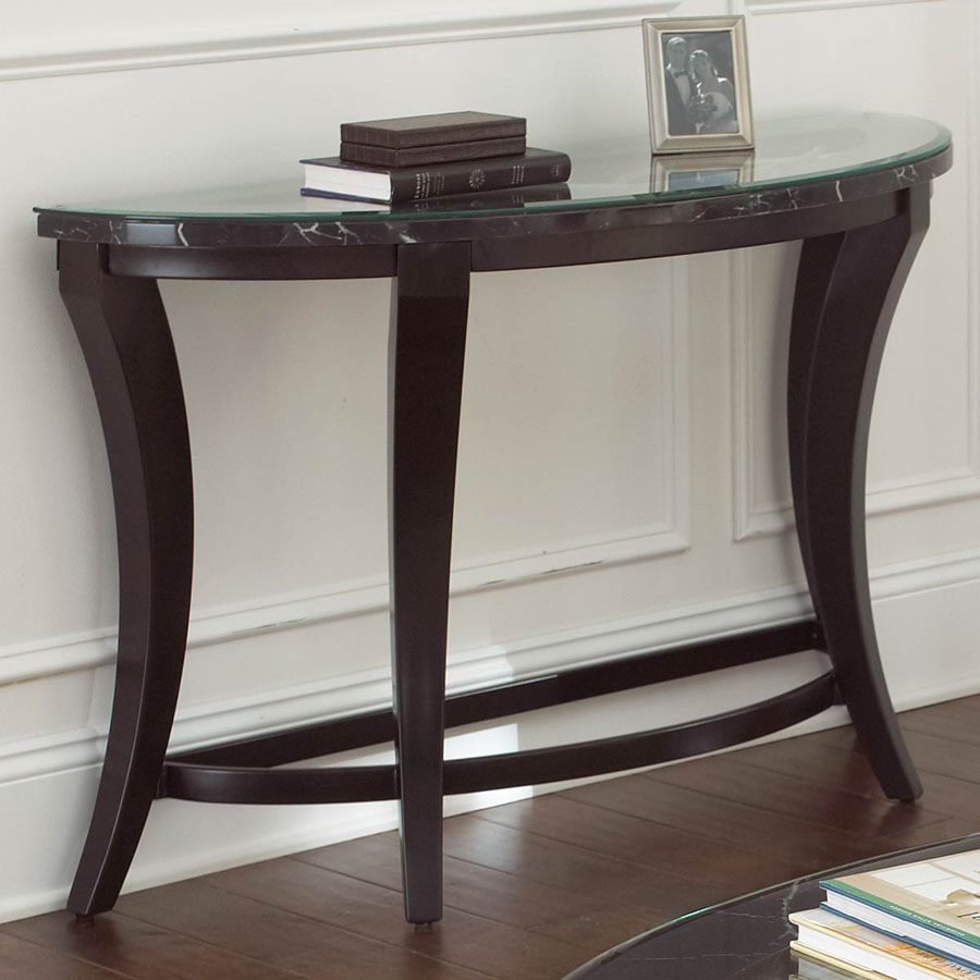 demilune half moon console table glass top small accent gallerie couch oval and metal coffee black dale tiffany aldridge lamp wicker garden chairs ethan allen furniture brown