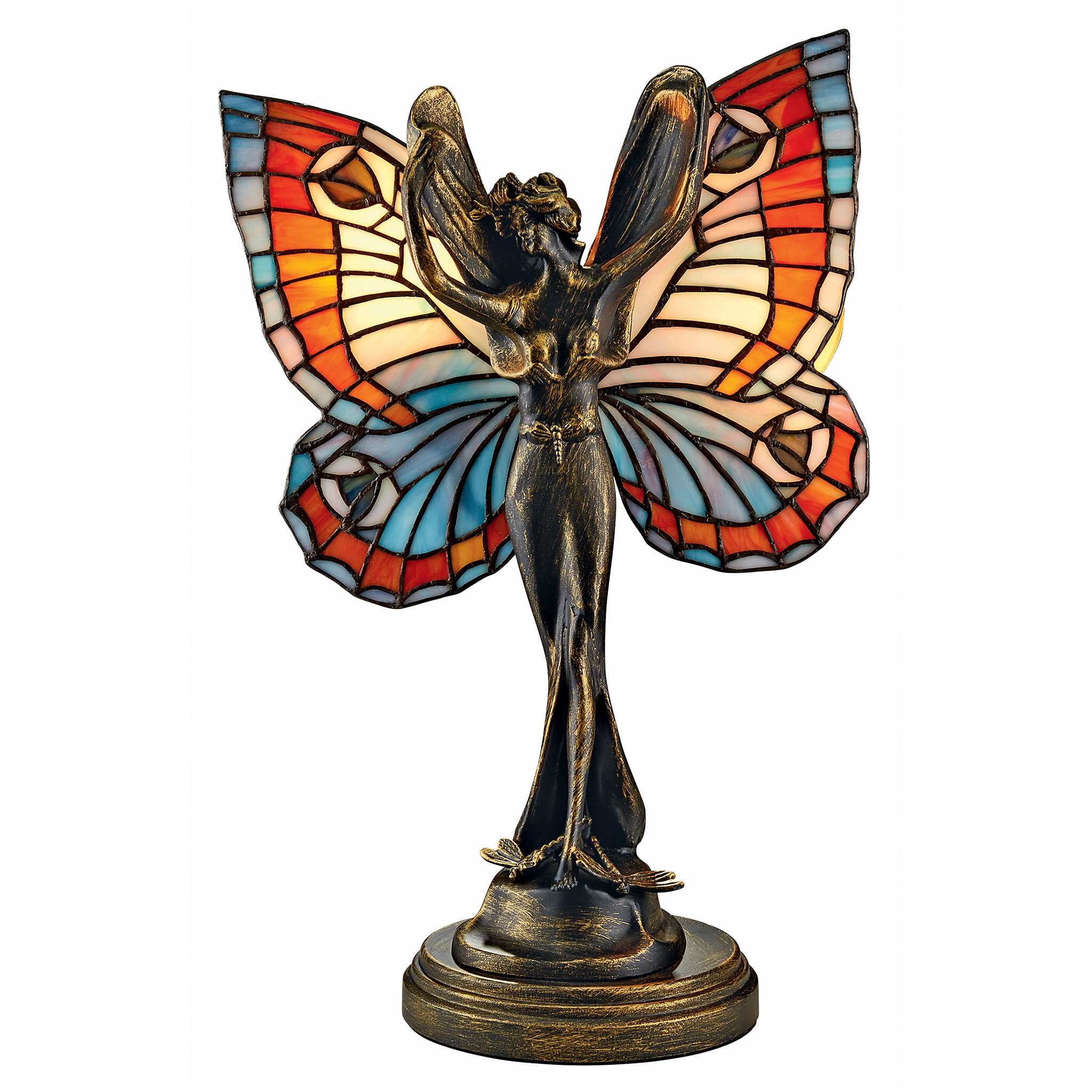 design toscano butterfly fairy tiffany style stained glass table lamp accent clearance deck furniture inch round decorator cloth coffee calgary trestle bench small short side