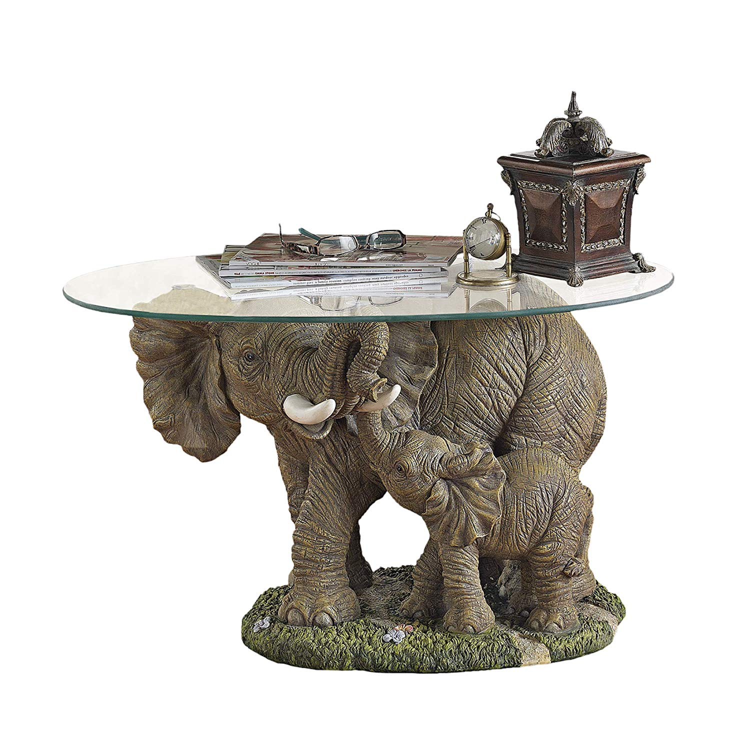 design toscano elephant majesty glass topped cocktail accent table kitchen dining end tables and coffee small round marble side black white patio umbrella target tablecloth narrow