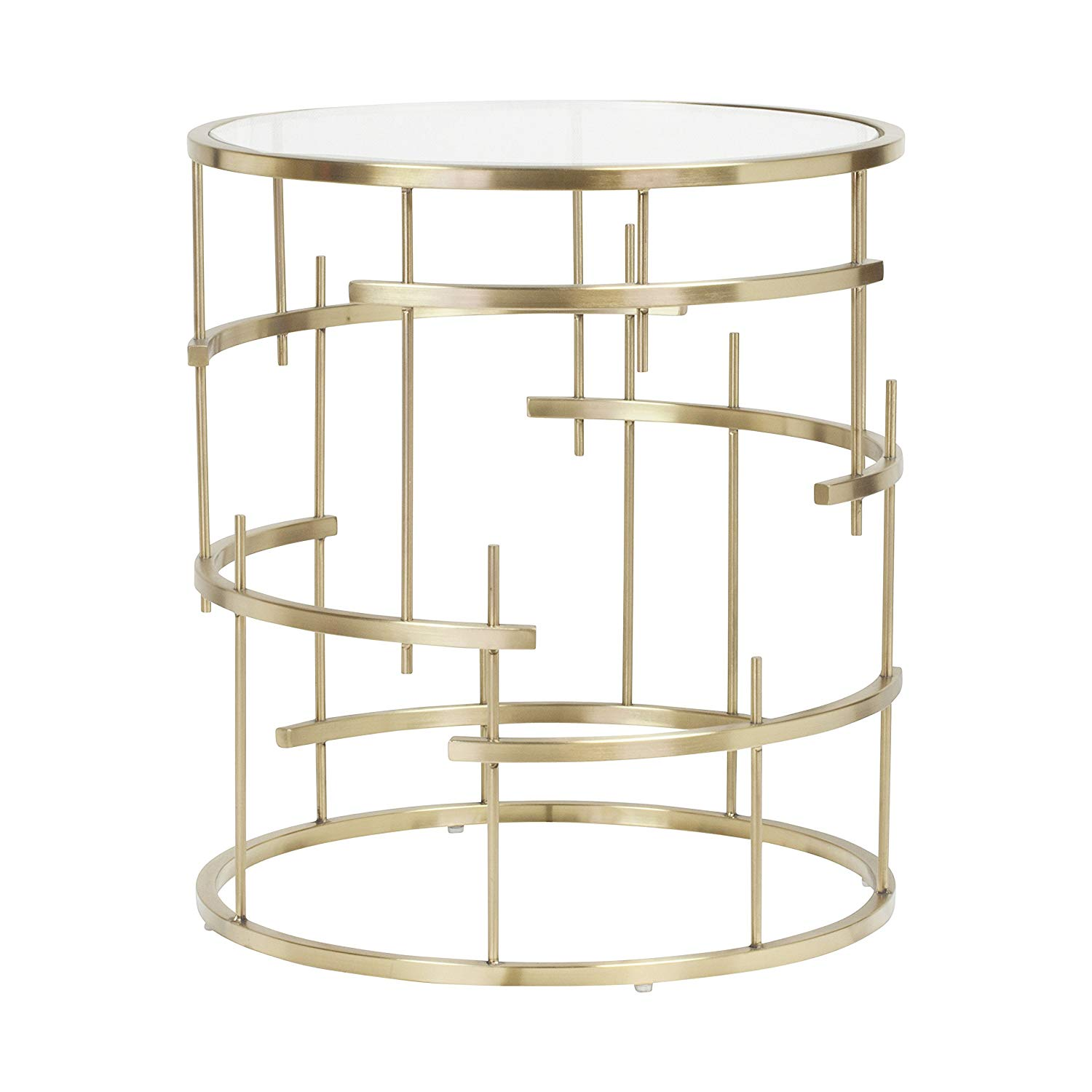 design tree home esme end table brushed gold and glass accent top kitchen dining chrome side unique ceiling light ginger jar lamps outdoor shoe storage small bench round metal