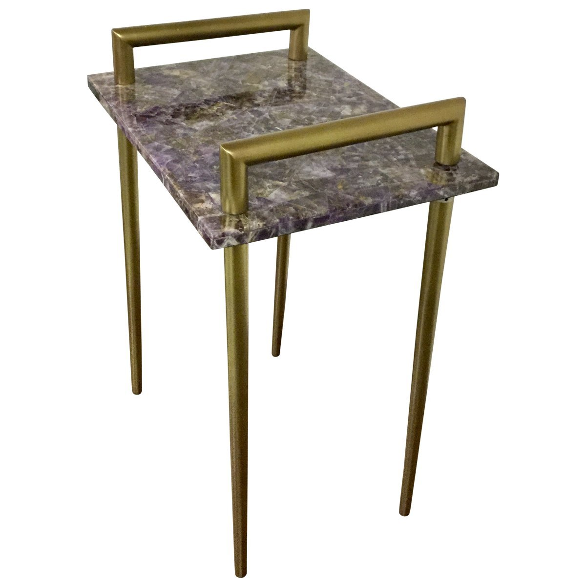 designe gallerie amethyst stone accent side table for gold with drawer living room metal handles bar contemporary brass finish kitchen dining old bath and beyond stools numbers