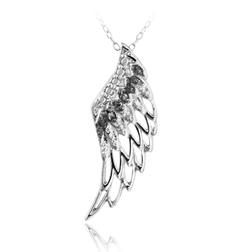 designs sterling silver black diamond accent angel wing necklace tablet eagle wooden garden storage box small ginger jar table lamps teak outdoor furniture side metal skinny with