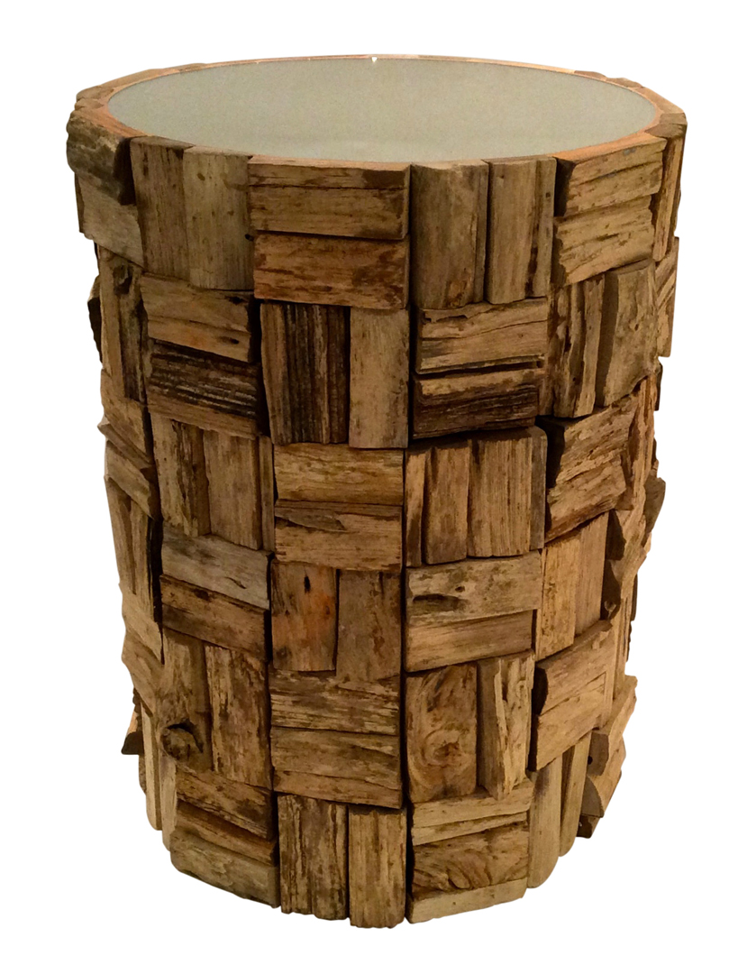 dessau home teak bark round accent table wood outdoor chairs for balcony high top bar and pier dining room hand painted drawers kmart rug butterfly lamp metal cute side tables