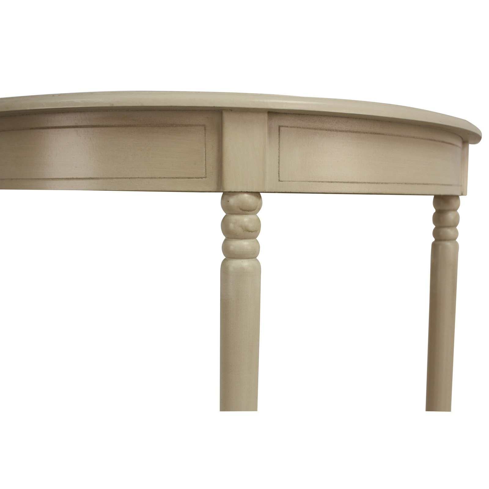 details about decor therapy antique white simplicity half round accent table detail circle beech bedside reclining chair pottery barn couch outdoor lamps small metal legs arc