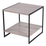 details about industrial metal side end table rustic sofa nightstand rack coffee holder wood accent bedroom light shades white with drawer linen lamps little drawers razer 150x150