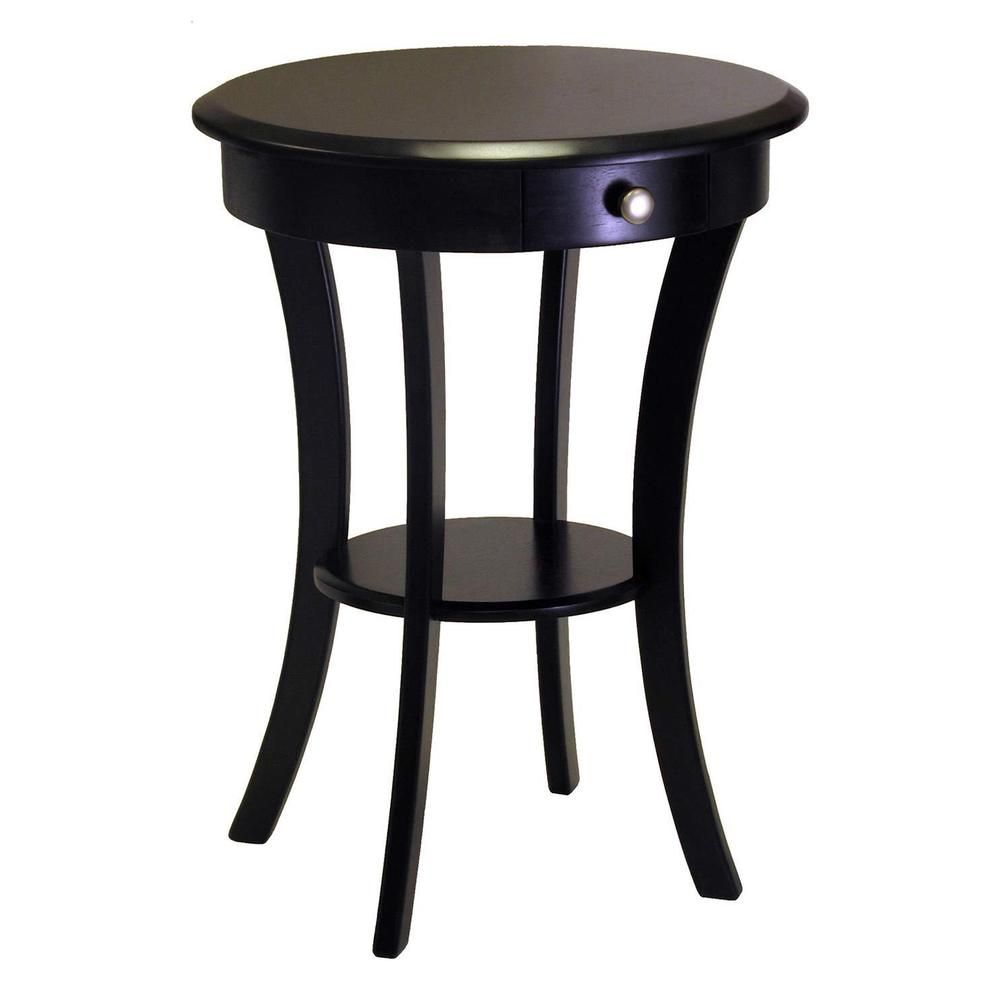 details about round accent table wood with drawer and shelf black home room display furniture winsomewood square coffee toronto bedroom acrylic gold wicker patio wooden designs