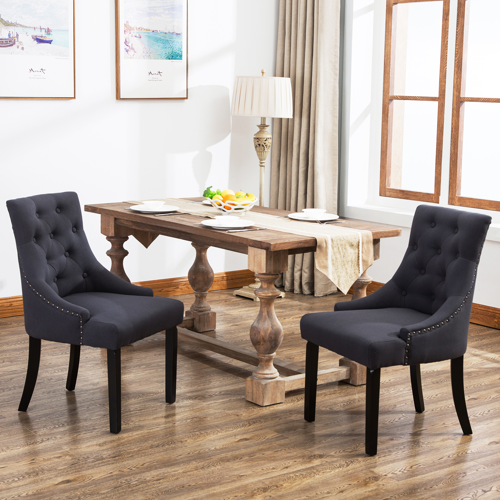 details about set curved shape linen fabric upholstered accent dining chair black furniture tufted dark grey nest tables marble top coffee table oval outdoor mirage mirrored