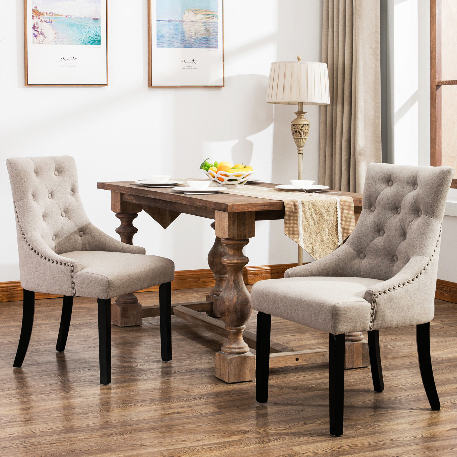 details about set curved shape linen fabric upholstered dining accent chair beige furniture tufted round barn table telescope rectangle tablecloth sizes oval outdoor cool console
