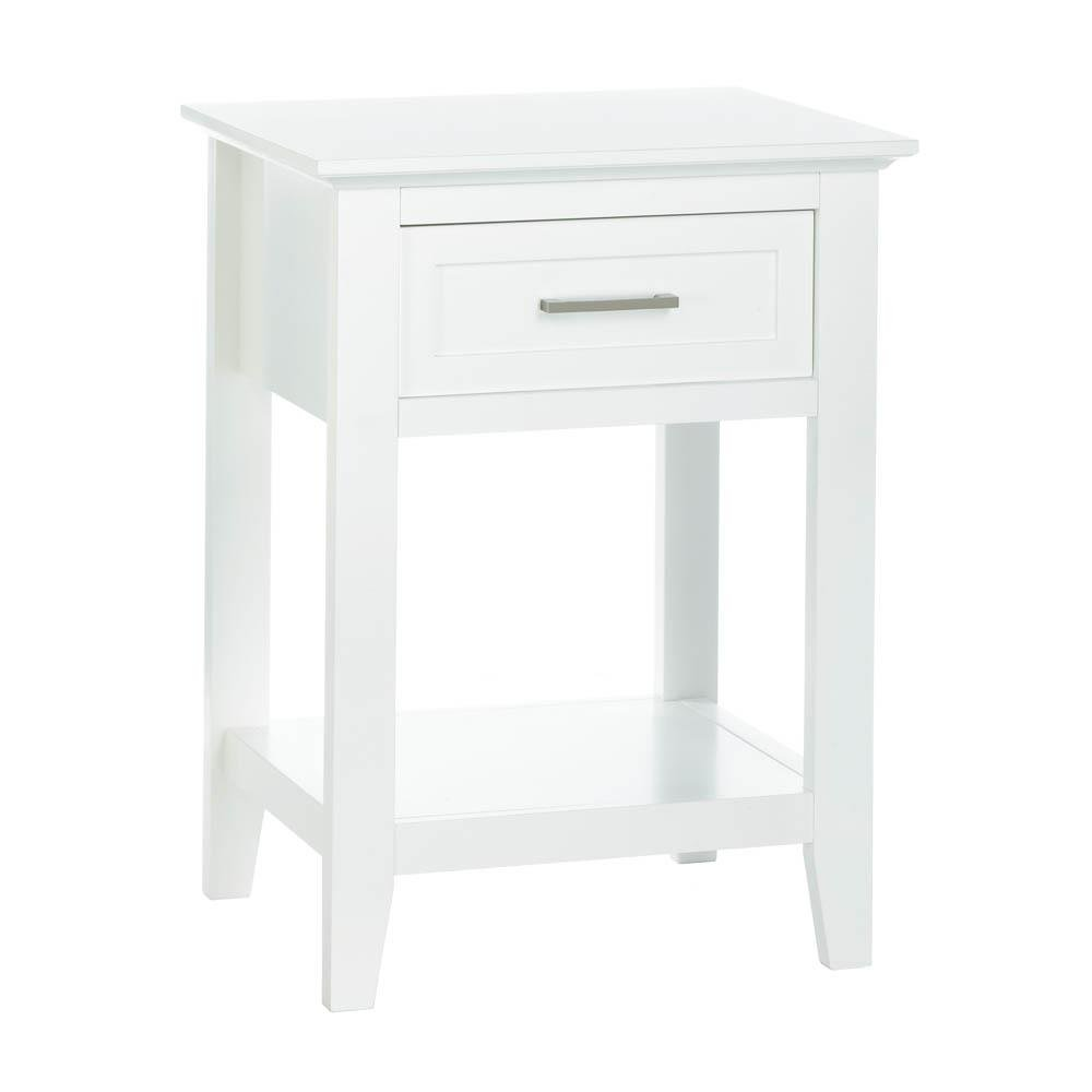 details about side table white wood modern sofa tables living room with drawer accent shelf drawers outdoor ikea ideas pier one dining furniture small round console cool cordless