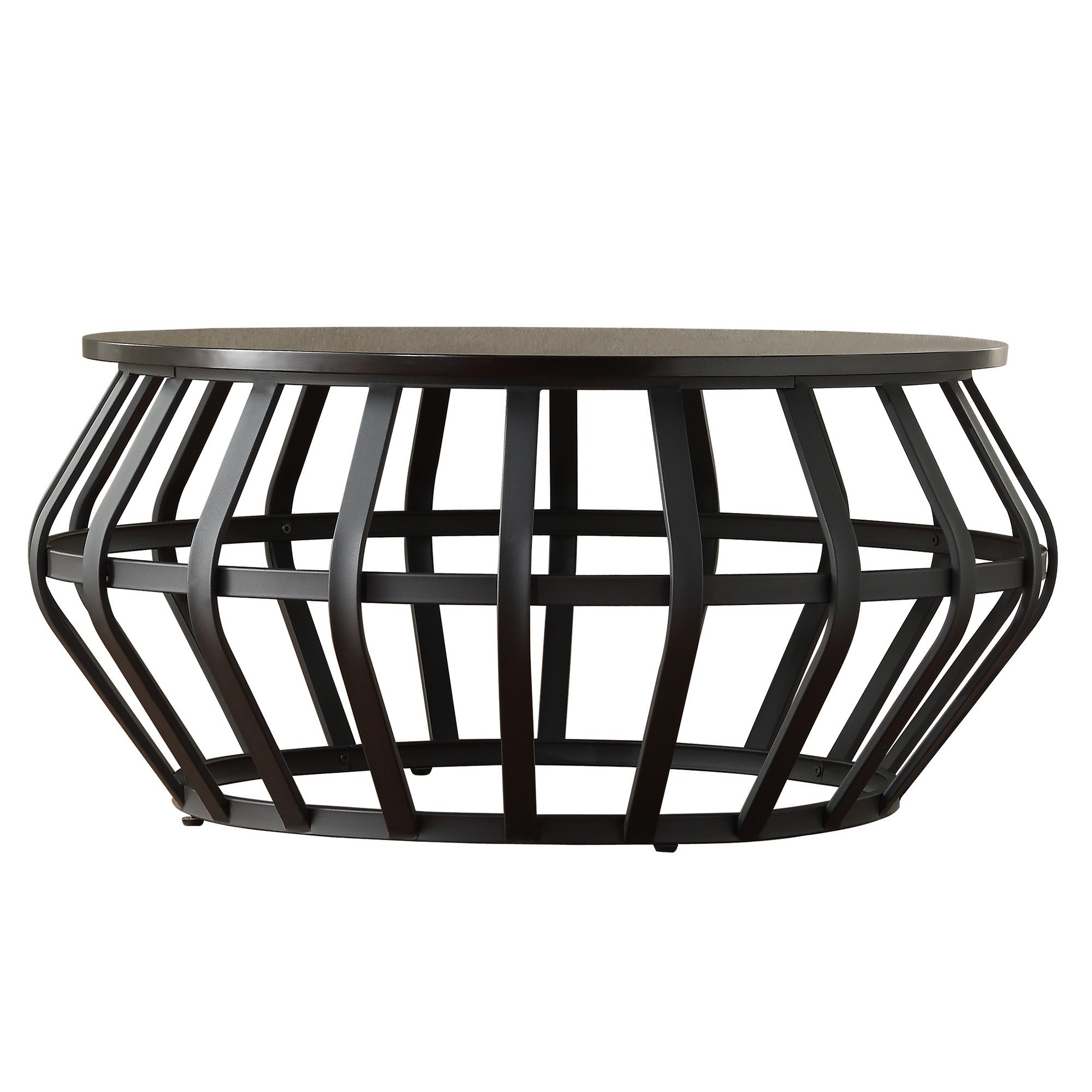 devon metal frame round cage slate accent coffee table tribecca home storage drum inspire classic free shipping today dining napkins homegoods console weber grill stand modern