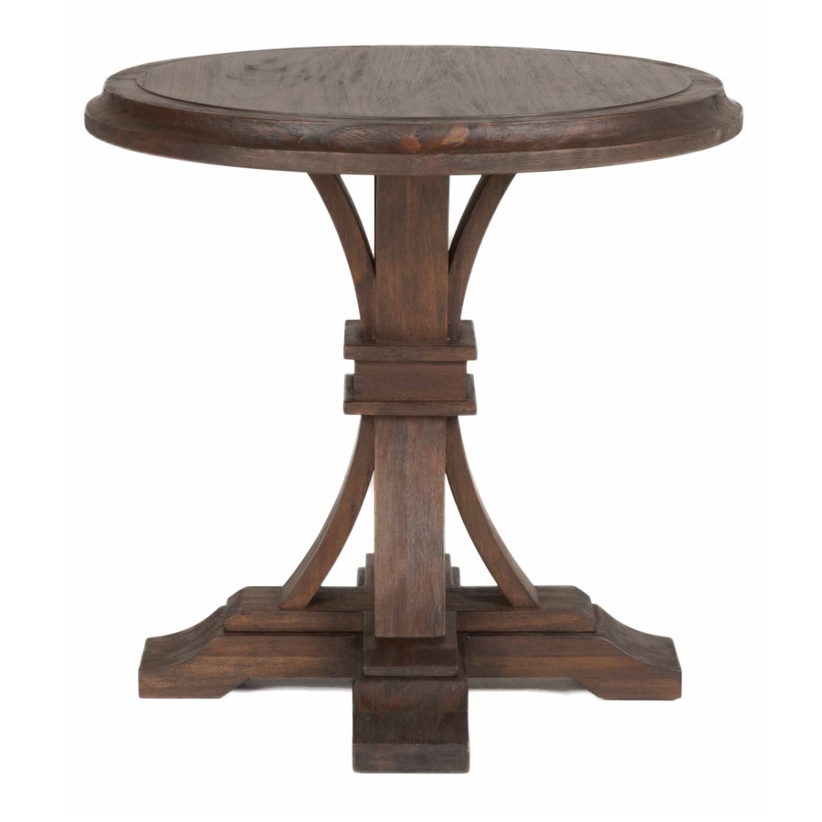devon round accent table rustic java pedestal small hall patio umbrella with solar lights keter cool bar asian lamp mirimyn desk legs wood farmhouse dining plants unique furniture