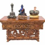 dharmaobjects solid wood hand carved tibetan buddhist prayer shrine drum accent table altar meditation medium dark dharma objects drop leaf console dining glass bedside cabinets 150x150