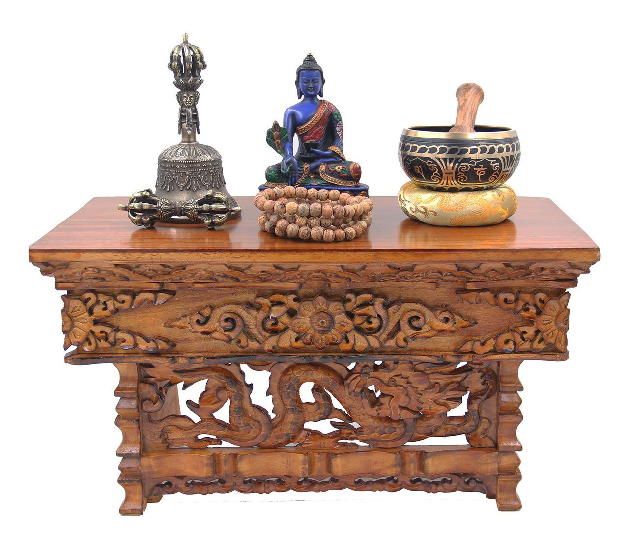 dharmaobjects solid wood hand carved tibetan buddhist prayer shrine drum accent table altar meditation medium dark dharma objects drop leaf console dining glass bedside cabinets