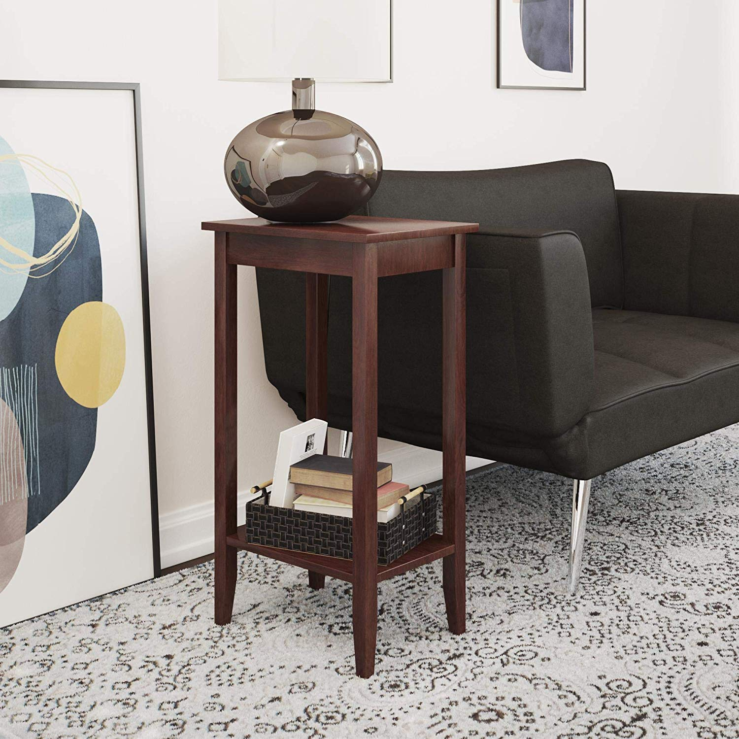 dhp rosewood tall end table simple design multi accent purpose small space medium coffee brown kitchen dining with mirror salvaged trestle gold glass lamp sofa matching tables