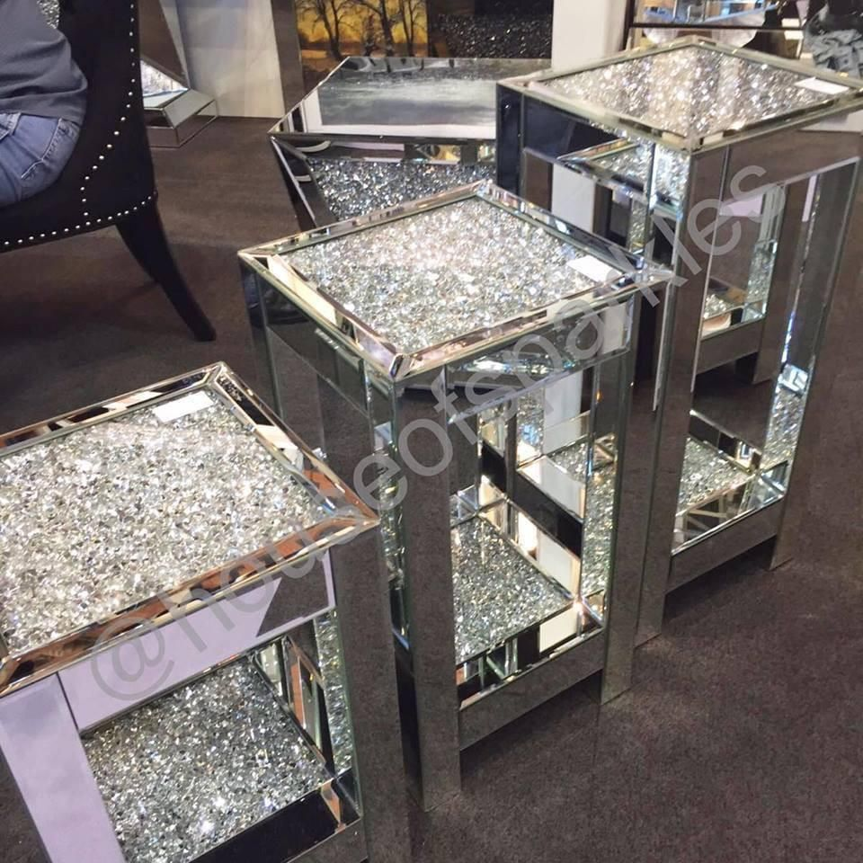 diamond crush side table mirrored furniture sparkle accent house sparkles round end tables small kitchen lamp nautical sofa for space living room real marble coffee set counter