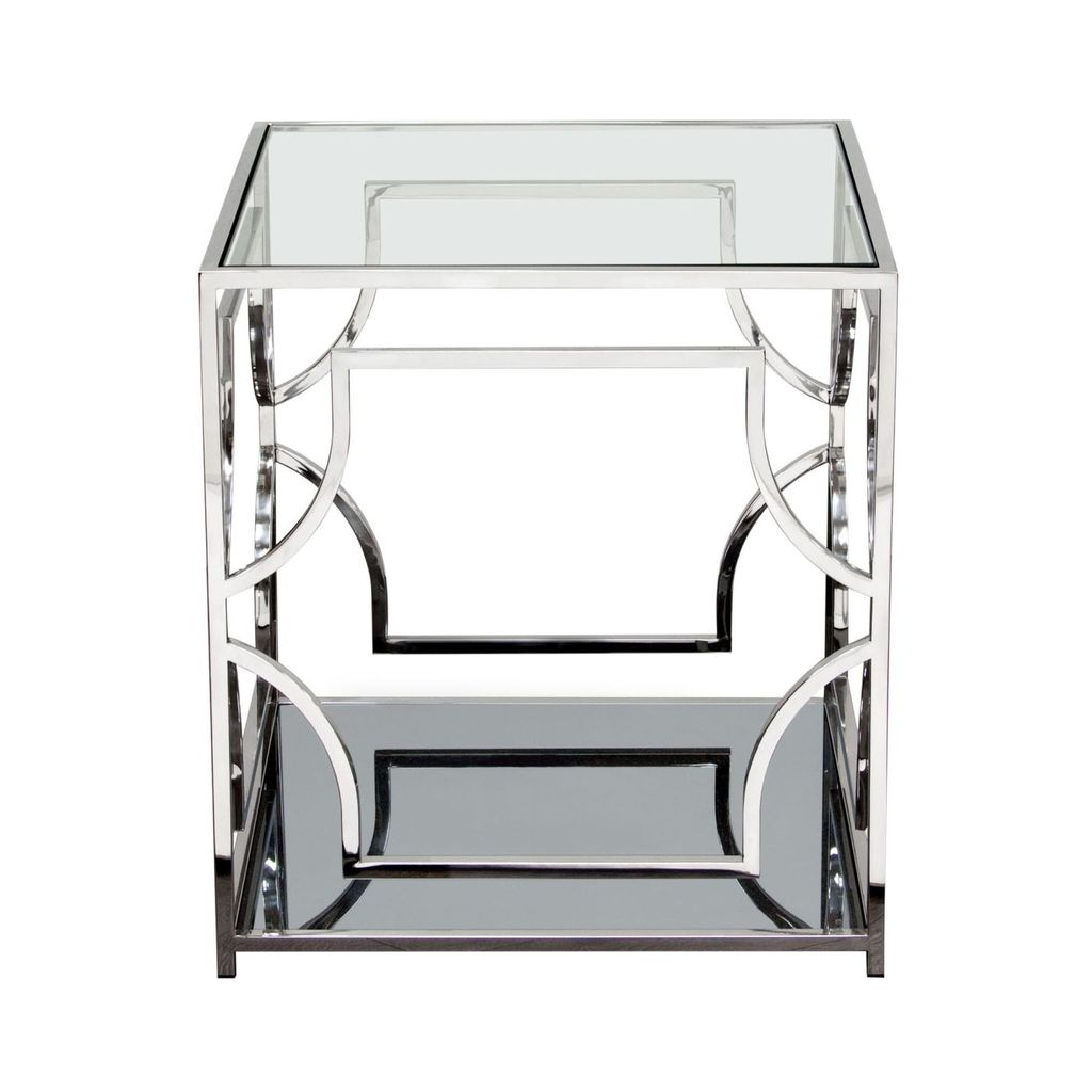 diamond sofa avalon end table with clear glass top mirrored shelf side tables avalonet stainless steel frame accent counter high dining set round and chairs modern rectangular