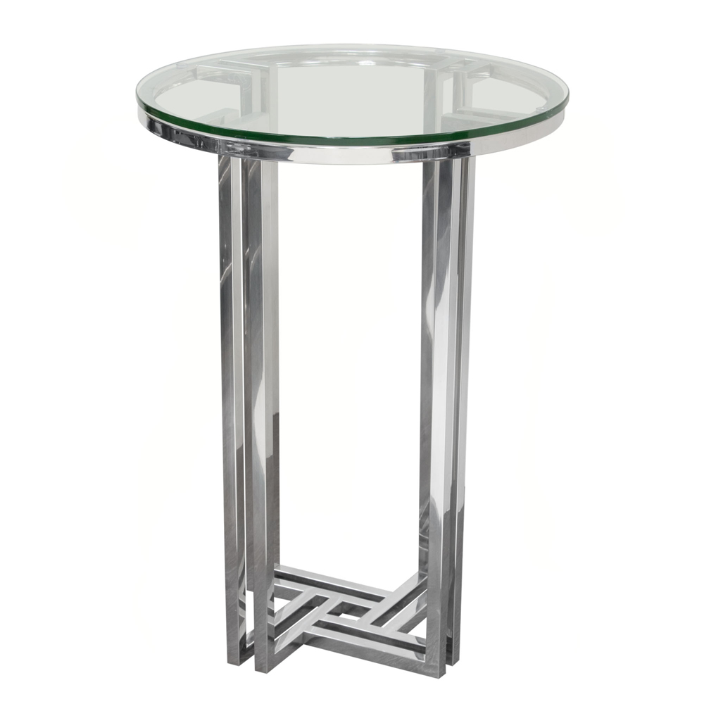 diamond sofa deko polished stainless steel round accent table with clear tempered glass top dekodess hover zoom mirage mirrored living room furniture end tables low bedside modern