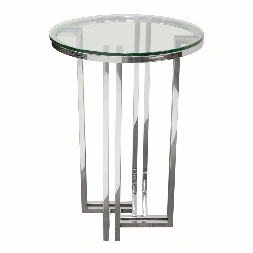 diamond sofa deko polished stainless steel round accent table with clear tempered glass top dekodess hover zoom parsons coffee minotti furniture pottery barn reclaimed wood oak