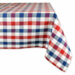dii cotton machine washable dinner summer round accent tablecloth nic red white and blue check seats people kitchen antique serving table small outdoor teak side purple furniture 150x150