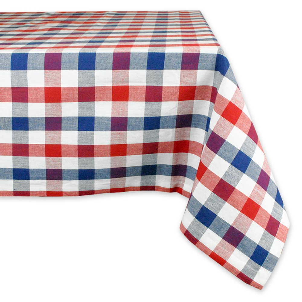dii cotton machine washable dinner summer round accent tablecloth nic red white and blue check seats people kitchen antique serving table small outdoor teak side purple furniture