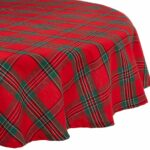 dii holiday plaid round tablecloth cotton with oyl accent hem for family gatherings christmas dinner seats kitchen market patio umbrella runner rugs table white glass lamp shades 150x150