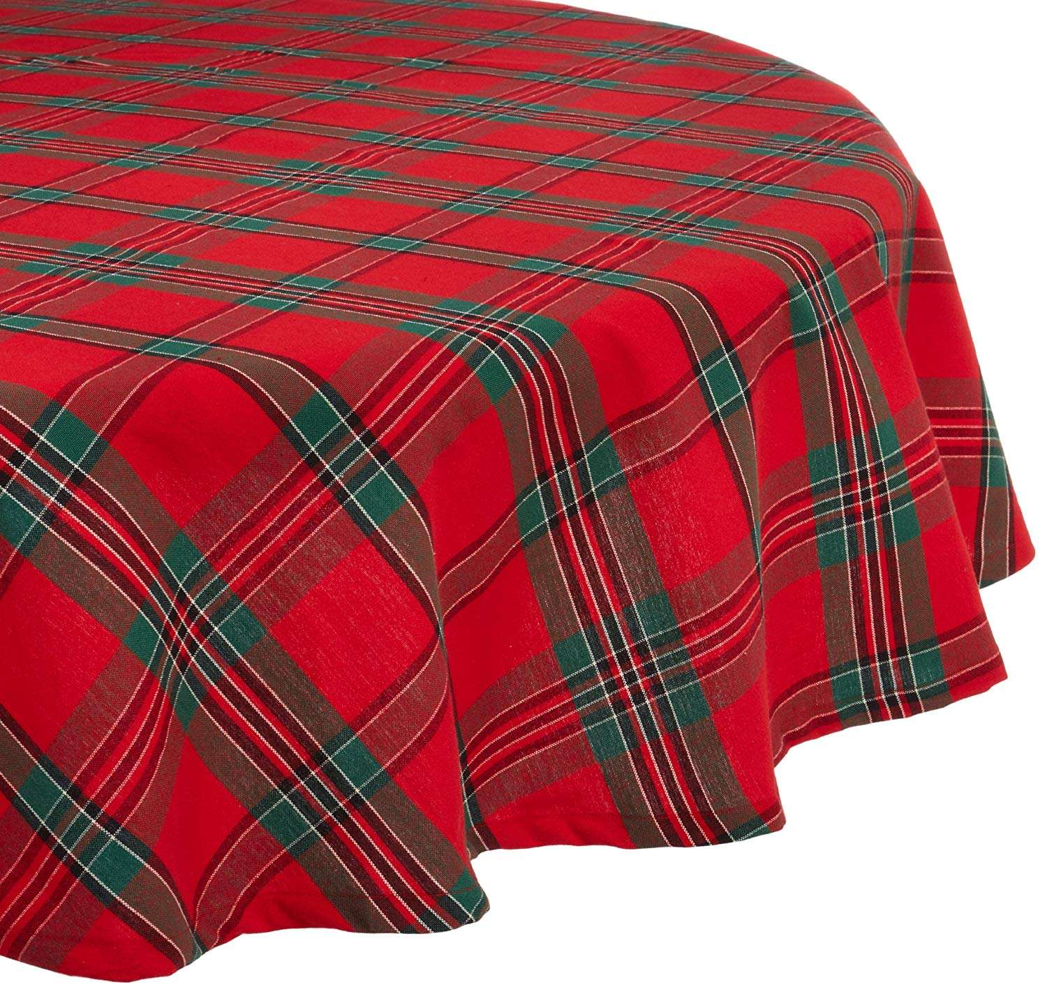 dii holiday plaid round tablecloth cotton with oyl accent hem for family gatherings christmas dinner seats kitchen market patio umbrella runner rugs table white glass lamp shades