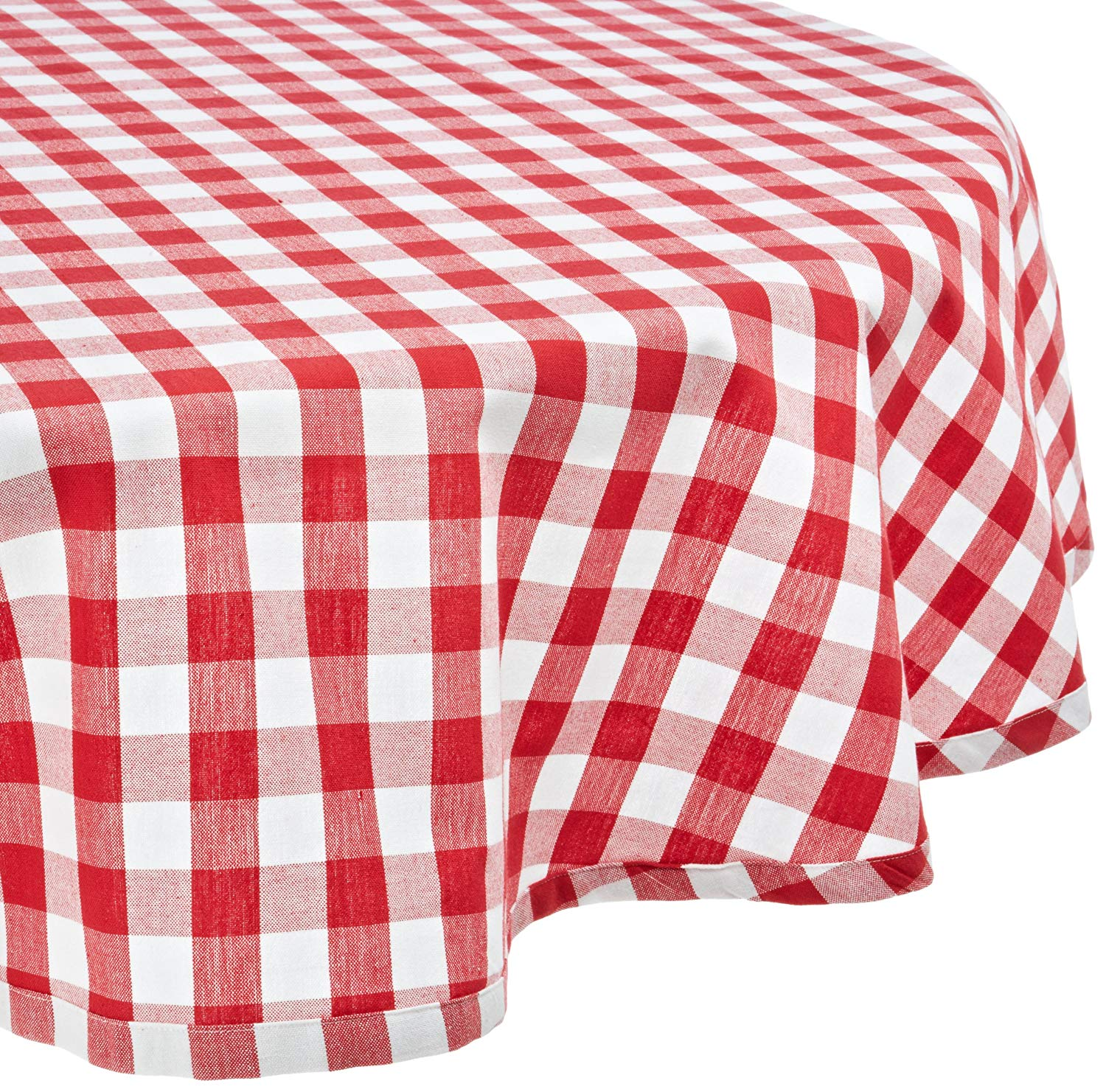 dii round cotton tablecloth red white check accent perfect for fall thanksgiving farmhouse decor dinner parties christmas nics potlucks mosaic tile bistro table and chairs ikea