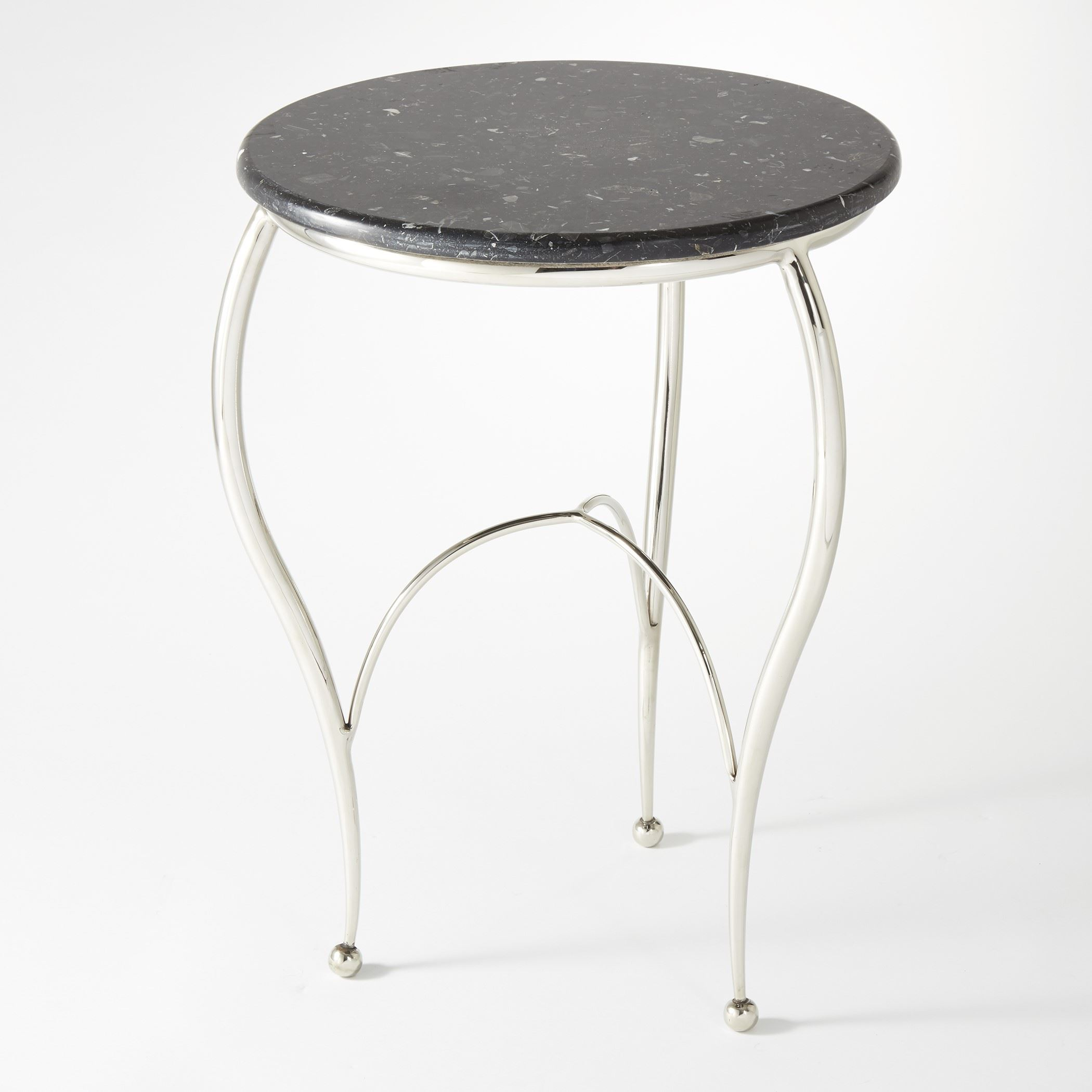diminutive contemporary nickel and black marble round accent table special this graceful yellow home decor plastic side glass corner white coffee with drawers accents vintage