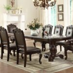 dining room accent pieces also small wall decor ideas meilleur scpi plus crown mark kiera traditional double pedestal table home design with upholstered chairs beautiful set white 150x150