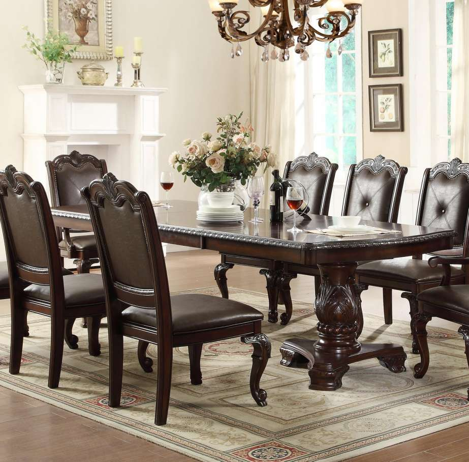 dining room accent pieces also small wall decor ideas meilleur scpi plus crown mark kiera traditional double pedestal table home design with upholstered chairs beautiful set white