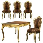 dining room set upholstered kitchen chairs zebra wood table accent chair with arms white living furniture sets leopard print parson full size modern interior design ideas tall 150x150