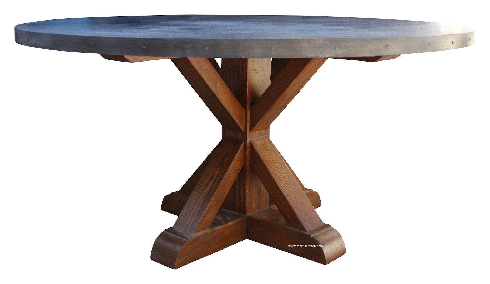 dining tables mortise tenon round zinc table reclaimed wood base los angeles accent hammered unusual end chest cherry side white patio target living room design vintage telephone