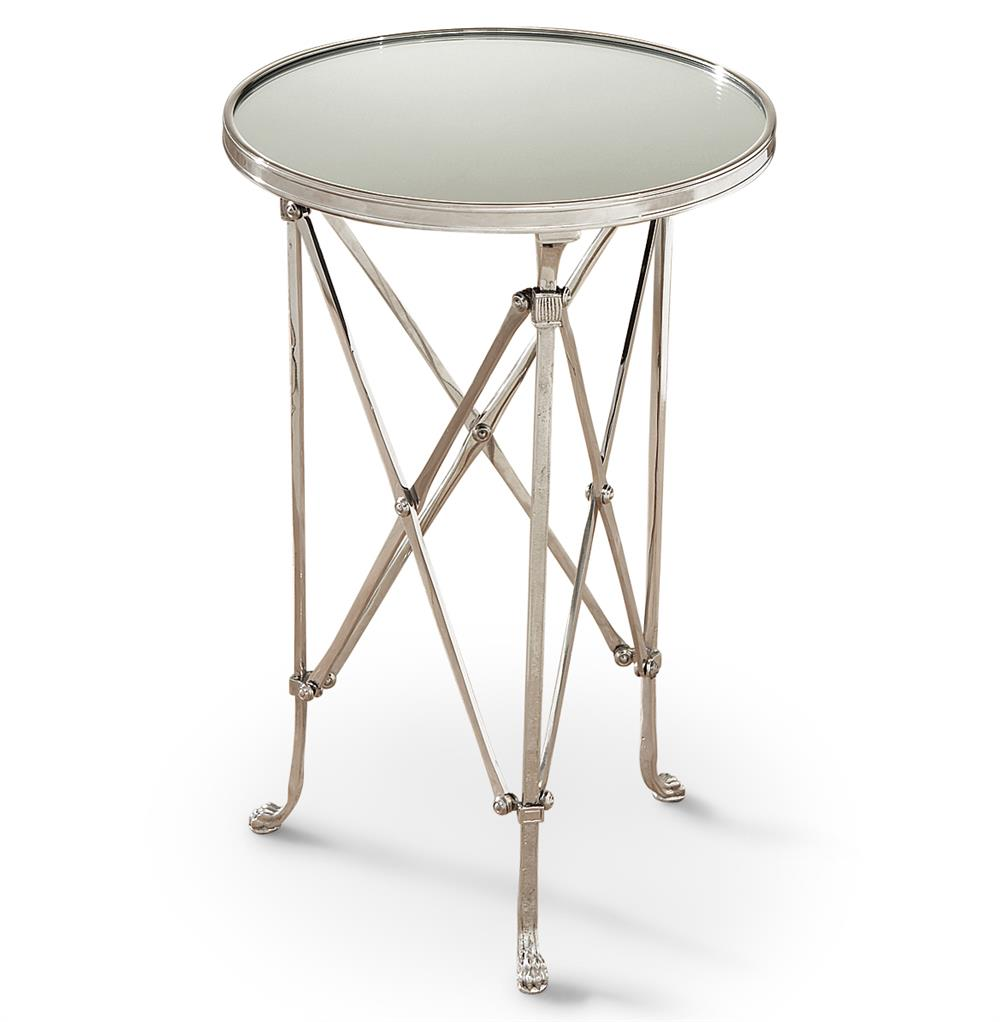 directors cut hollywood regency silver mirror round end table leaf accent small low coffee half moon contemporary metal tables narrow hallway log wood stump modern furniture and